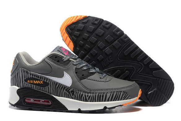 Men's Air Max 90 Shoes Dark Grey/White Orange